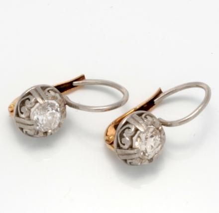 Platinum 14k Old Mine Cut Diamond Earrings